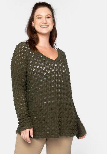 Пуловер с V-образным воротом Sheego